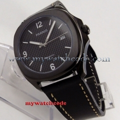 40mm Parnis black dial Sapphire glass PVD case Miyota automatic mens watch P890
