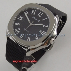40mm Parnis black dial date Sapphire glass Miyota 821A automatic mens watch P893