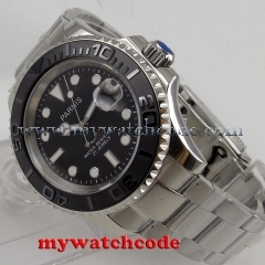 41mm Parnis black dial Sapphire glass 21 jewels stainless steel strap miyota 8215 automatic mens watch