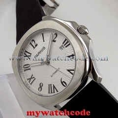 40mm parnis white dial 21 jewels miyota luminous Datejust automatic mens watch