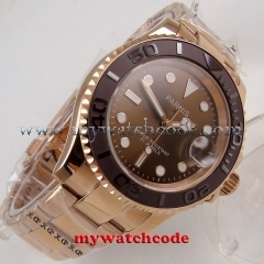 41mm Parnis brown dial Sapphire glass Ceramic bezel miyota automatic mens watch