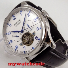 43mm parnis white dial date day ST 2552 automatic movement mens watch P902