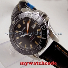 43mm Parnis black dial Sapphire glass leather 20ATM automatic diving mens watch