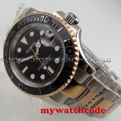 41mm Parnis black dial date Sapphire glass Ceramic bezel miyota automatic watch