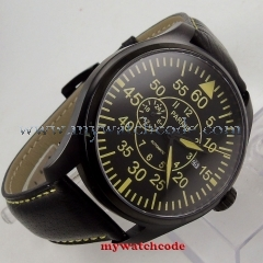 43mm Parnis black dial PVD case Sapphire Glass 21 jewels miyota Automatic mens Watch P614