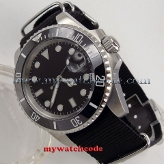 40mm parnis black dial luminous marks sapphire glass automatic mens watch P210