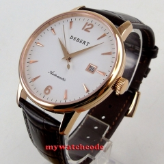 polished 41mm Debert white dial rose golden case miyota 8215 automatic men watch
