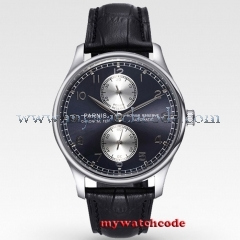 43mm parnis black dial Luxury power reserve automatic movement mens watch P193