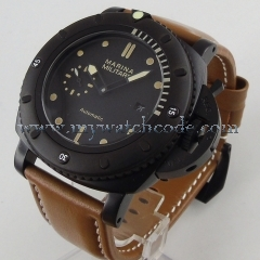 47mm parnis black dial orange marks black PVD case date window sea-gull automatic mens watch
