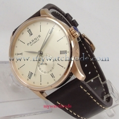42mm Parnis beige dial 24 Hours sea-gull 1690 Automatic Movement Mens Watch