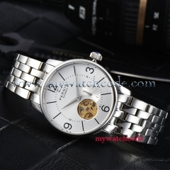 38mm Parnis white dial Hollow Dial Sapphire Crystal Miyota Automatic Mens Watch
