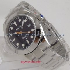 40mm parnis black dial sapphire glass 21 jewels miyota automatic mens watch