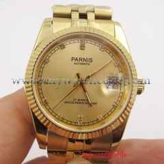 36mm Parnis yellow gold diamond dial Datejust Miyota 8215 automatic mens watch