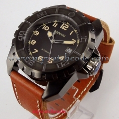45mm parnis black dial yellow marks PVD case miyota automatic movement watch