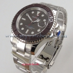 41mm Parnis gray dial red second hand Ceramic bezel miyota automatic mens watch