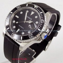 40mm Parnis black dial ceramic bezel 21 jewel Miyota automatic mens watch P463