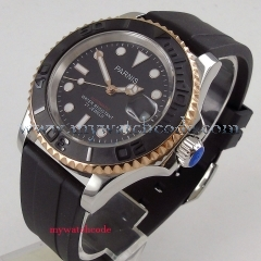 41mm Parnis black dial Sapphire glass 21 jewels miyota automatic mens watch 980