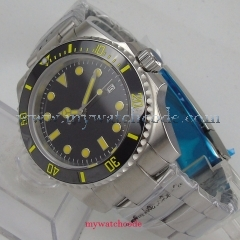 40mm parnis sterile black dial luminous sapphire crystal automatic mens watch