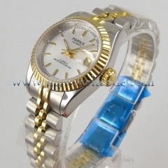 Luxury 26mm Gold plated parnis silver dial 21 jewels miyota automatic womens lady watch