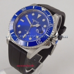 40mm Parnis blue dial rubber strap ceramic bezel Miyota automatic mens watch 653