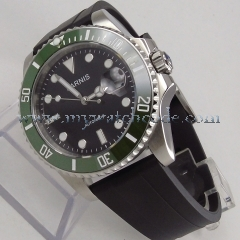 40mm Parnis black dial ceramic bezel sapphire miyota Automatic Mens Watch P627