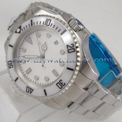 44mm parnis white Sterile dial date Ceramic Bezel sub automatic mens watch B54
