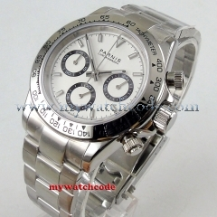 new arrive 39mm PARNIS white dial quartz mens watch solid case full Chronograph P1076