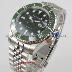 40mm PARNIS Green Dial Sapphire Glass Rotating Ceramic Bezel Date Luminous Steel Case MIYOTA 8215 Automatic Movement men's Watch pa1057