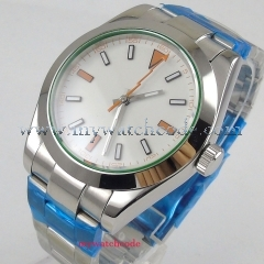 New 40mm PARNIS White Sterile Dial Stainless steel Polished Bezel Luxury Brand No logo Watch Automatic Movement men's Watch PA11