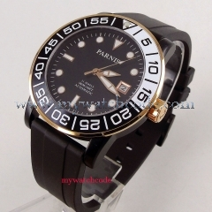 42mm parnis Black Dial Luminous Marks Rubber strap Rose Golden Plated Case 21 jewels Miyota Automatic Mechanical men's Watch PA394