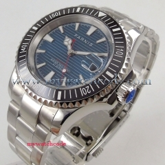 41mm PARNIS Blue Dial Date Luminous Sapphire Glass Rotating Bezel Luxury Brand MIYOTA 8215 Automatic Movement men's Watch PA1059