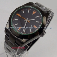 NEW Arrive 40mm parnis Black Sterile Dial PVD Coated Deployment clasp Luxury Brand Automatic Movement men's Watch P1054