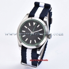 Sapphire Crystal 40mm Black Sterile Dial Polished Bezel Luminous Marks Nylon Strap MIYOTA Automatic Movement Men's Watch P1063
