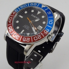 42mm parnis black dial luminous marks Rubber Strap Sapphire Crystal Date window 21 jewel Miyota Automatic Men's Watch PA393
