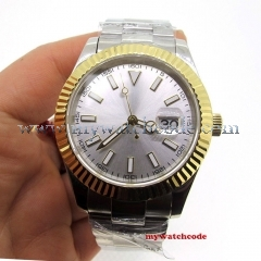 Luxury Brand 40mm Silver Dial Golden Bezel Luminous Marks Sapphire Crystal Date Magnifier Automatic Movement Men's Watch P1065