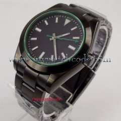 NEW Arrive 40mm parnis Black Sterile Dial PVD Coated Deployment clasp Luxury Brand Automatic Movement men's Watch P1053