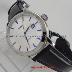 41mm Parnis White dial stainless steel case date window Blue Hands Newest Hot Automatic movement Men's business Watch PA554