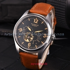 PARNIS Fashion NEW Arrived 43mm Black Dial Orange Marks PVD Coated Leather strap Luxury Brand Automatic Movement men's Watch PA817