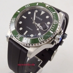 BLIGER 40mm Black Dial Green Ceramic Bezel Luminous Sapphire Glass Leather Band MIYOTA Automatic Movement Men's Watch PA1056