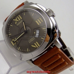 Parnis watch grey sandwich dial 44mm polished case sapphire glass MIYOTA Automatic movement wrist watch men 797
