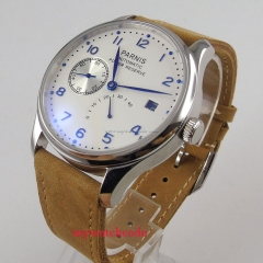 Parnis 43mm White dial blue hands leather strap power reserve 2530 Automatic movement Men's watch 128 relogio masculino