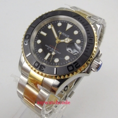 Luxury 41mm Parnis black dial gold bezel sapphire glass date magnifier 5ATM 21 jewels MIYOTA Automatic men's watch men 912