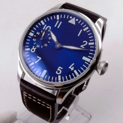 big sale of 44mm classic parnis Royal blue dial luminous 6497 movement hand winding mens watch 1