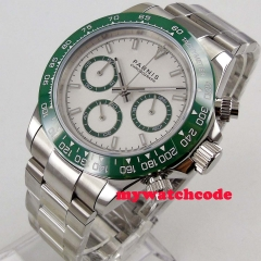 Luxury 39mm PARNIS quartz mens watch White dial green bezel sapphire glass solid case bracelet full Chronograph wrist watch