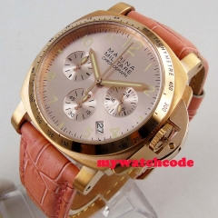 Big sale 40MM pink dial date quartz mens watch gold plated case full Chronograph
