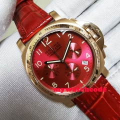 Big sale 40MM Red dial date quartz mens watch gold plated case full Chronograph