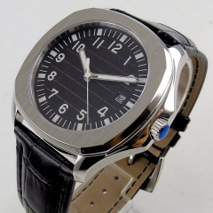 40mm black sterile dial sapphire glass date window luminous Automatic men's watch