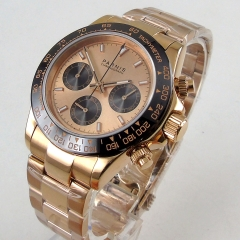 Luxury 39mm PARNIS quartz mens watch Golden dial sapphire glass gold plated case bracelet full Chronograph wrist watch