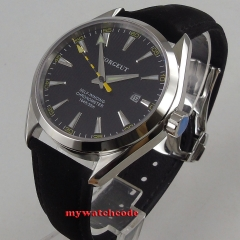 39mm Watch Sapphire Glass Date Military Black Dial Stainless Steel case automatic men's Watch