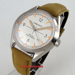 41mm Corgeut White Dial Leather Strap Sapphire Glass Automatic Movement men's Watch